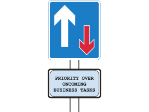 Small Business Priorities roadsign