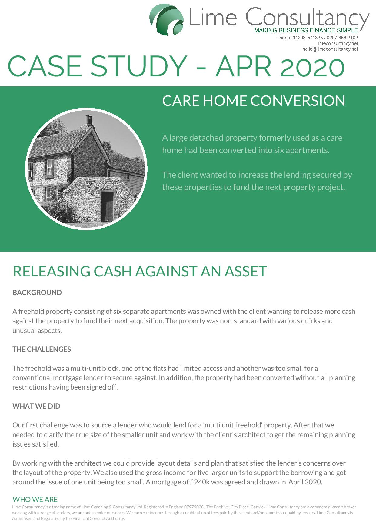 multi unit freehold block commercial mortgage April 2020